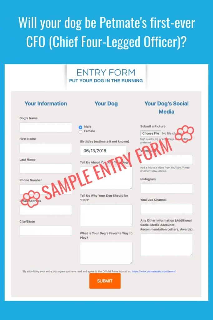 Sample Entry Form for Petmate's dog contest