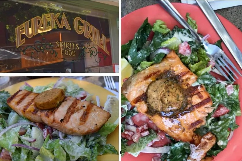 photo of salmon caesar salad from the eureka grill in downtown eureka springs