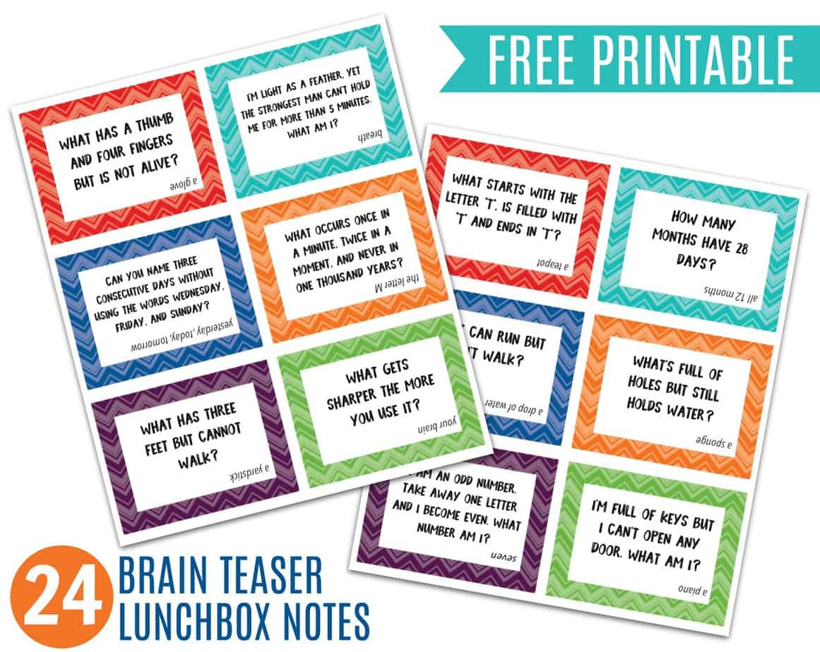 Brain Teaser Lunchbox Notes