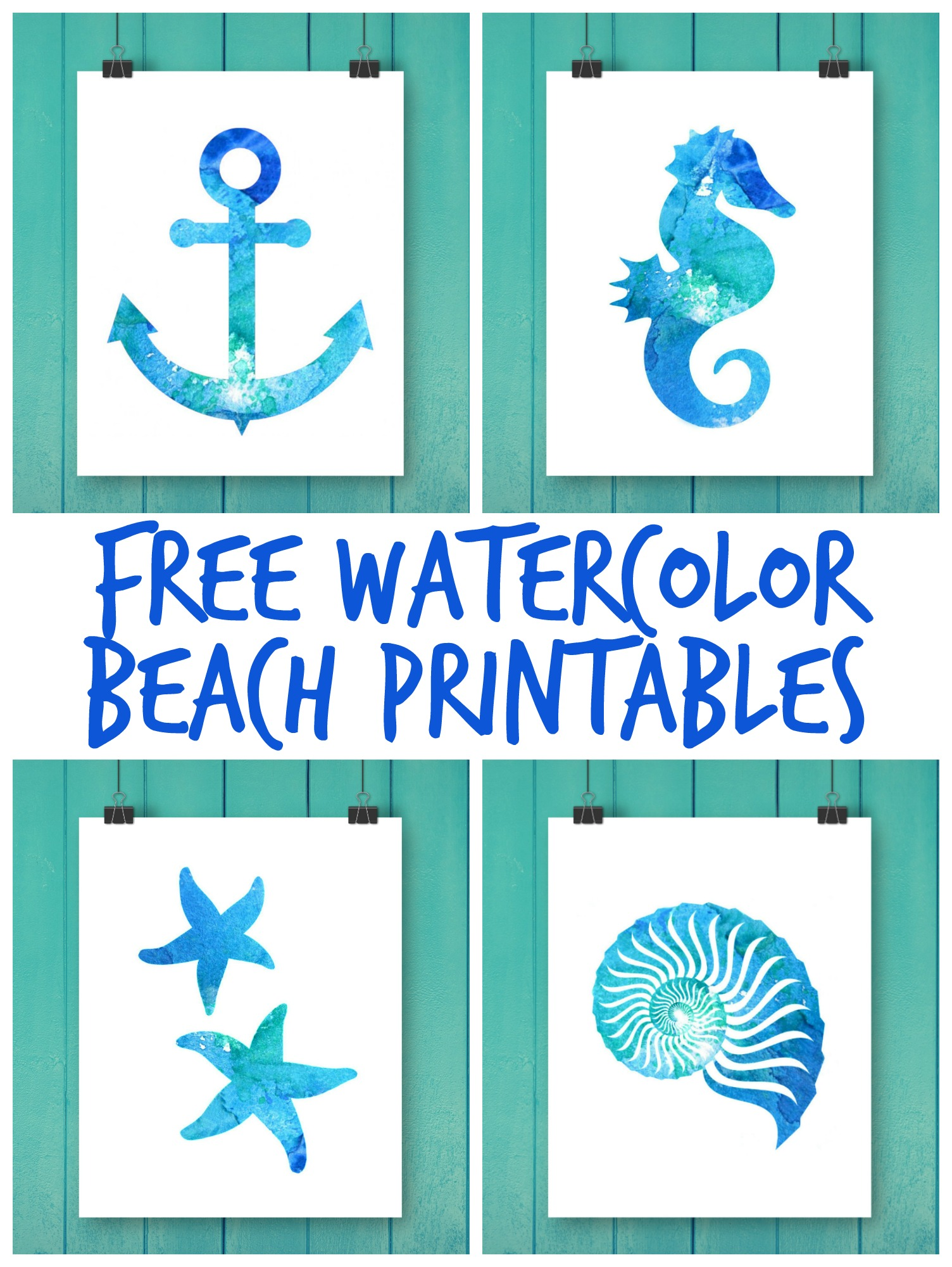 Free Watercolor Beach Printables