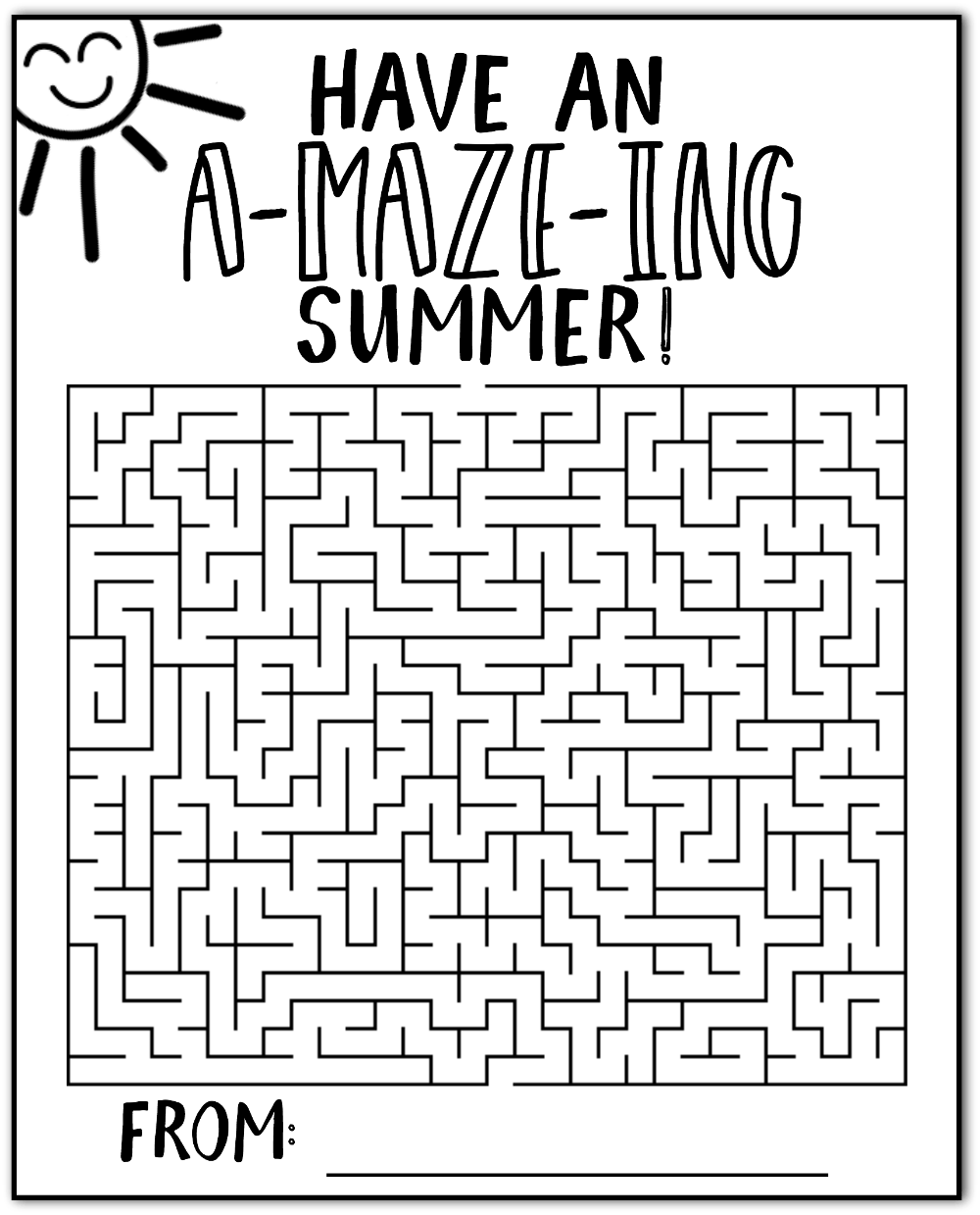 Have An Amazing Summer Maze Cards Free Printable Happy Go Lucky