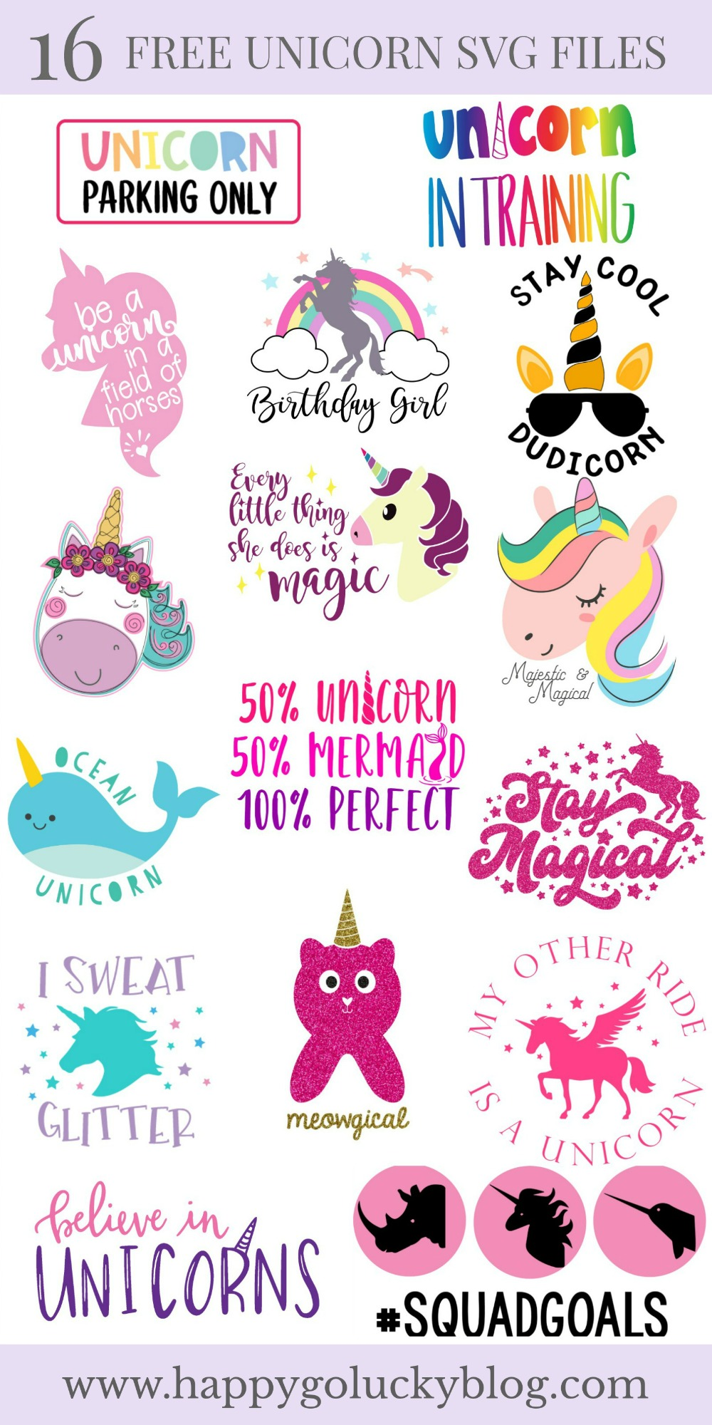 Download A Magical Collection of 16 Free Unicorn SVG Files - Happy ...