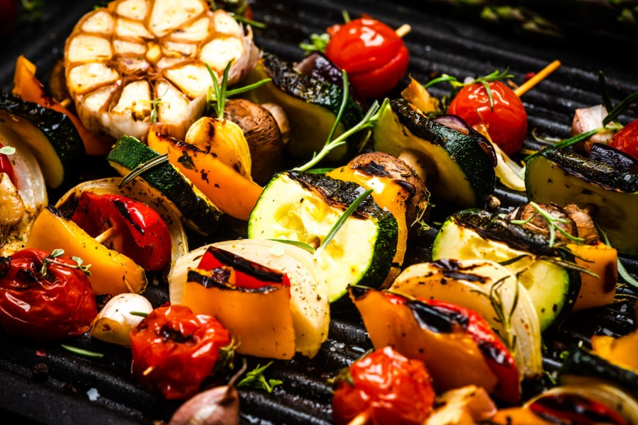Bbq,Grilled,Wegetables,On,Skewers,With,Fresh,Herbs,And,Spices.
