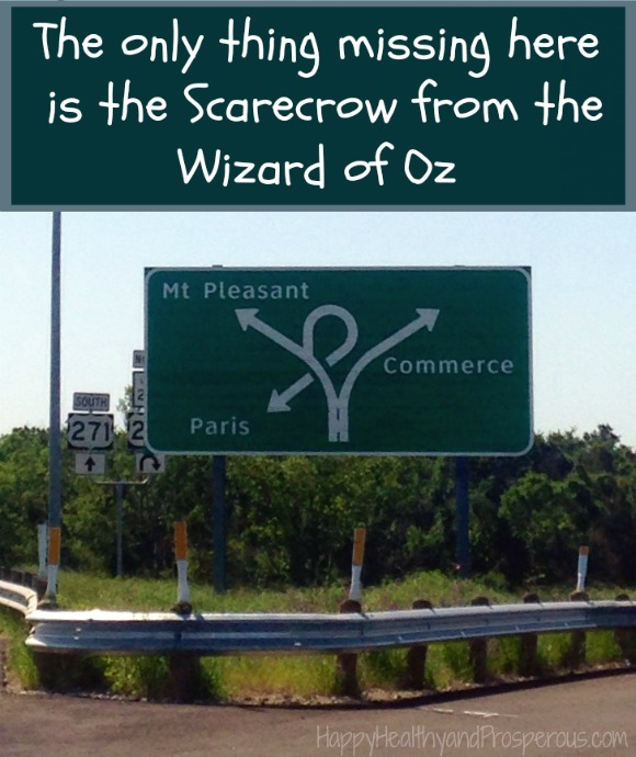 Funny Friday: Road Sign...the only thing missing is the Scarecrow from the Wizard of Oz!