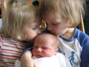 My very sweet grandbabies: Abigial and Rebekah and their new baby brother Isaac