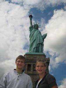 Ammon & Louisa at the Statue of Liberty