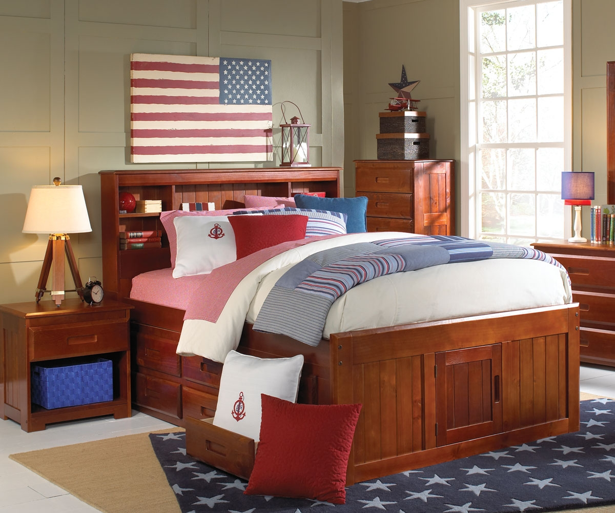 2821 Full Bookcase Headboard Captain Bed W Trundle 3