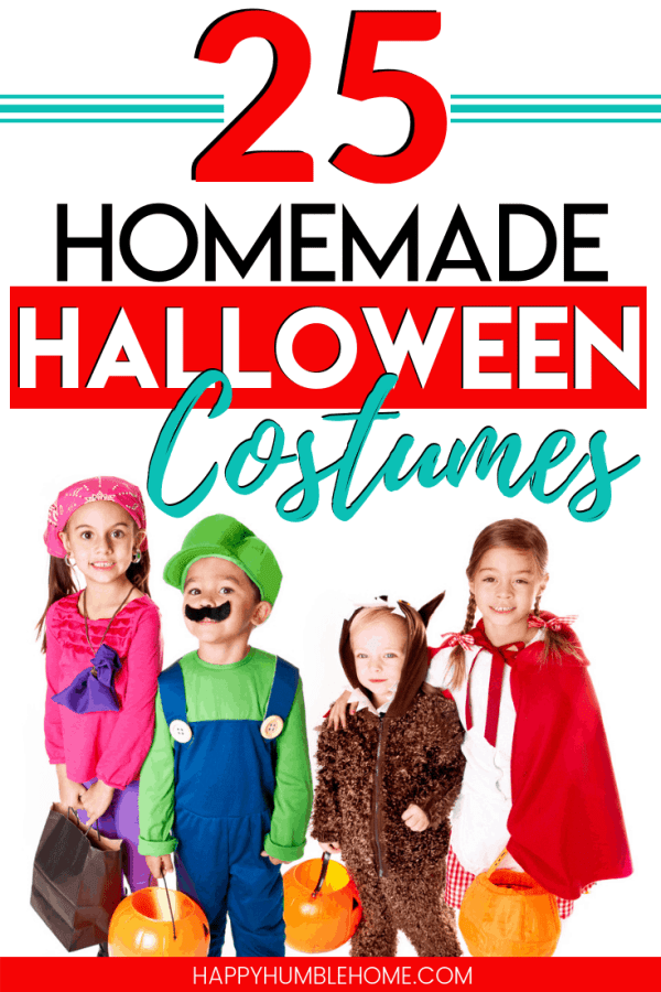 Homemade Halloween Costume Ideas - These simple DIY costume suggestions are so easy and your child will love them! The tutorials are easy enough that even I can do it!