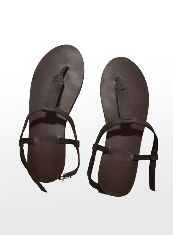 brown leather sustainable fair trade sandals. Eco-friendly shoes