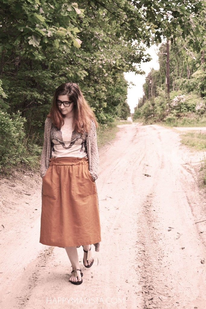 mustard zara skirt paired with ginger g top and a crochet cardigan