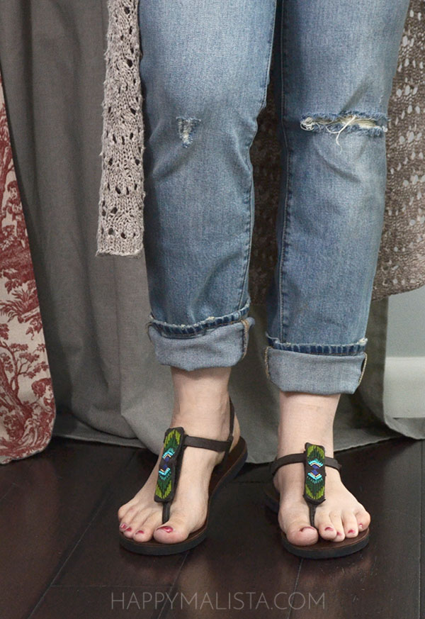 boho eco friendly fair trade sandals and distressed jeans outfit