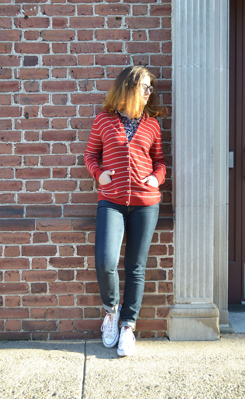red cardigan with jeans and chucks
