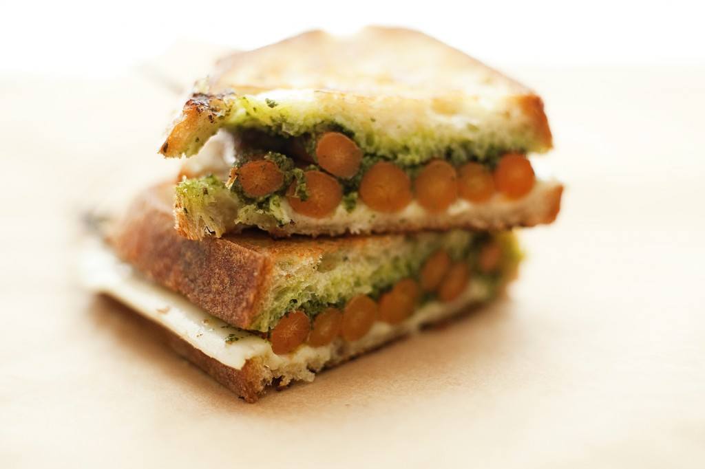 Grilled Cheese with Roasted Carrots + Carrot Green Pesto from Happyolks.com