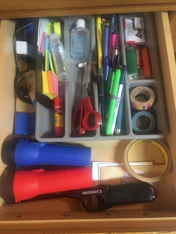 Allow yourself one junk drawer in your kitchen organization project.