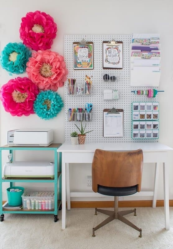 Peg board over your small office space at home.