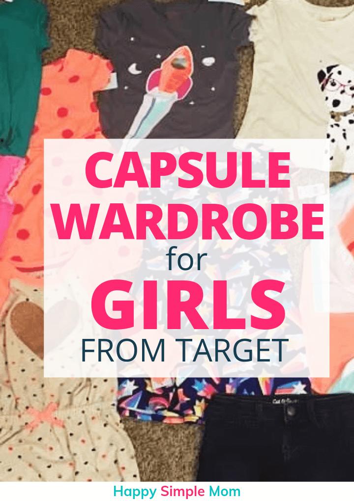 Capsule wardrobe for girls from Target Pinterest Pin.