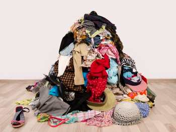 Pile of clothes on the floor