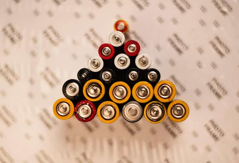 Batteries grouped together.