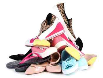 Shoes piled