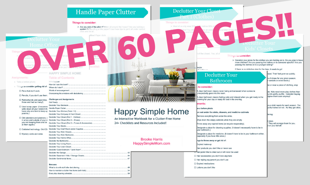 Happy Simple Home Decluttering Workbook: The Ultimate Guide to Decluttering, room by room.