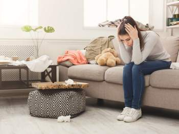 Clutter causing anxiety for a woman