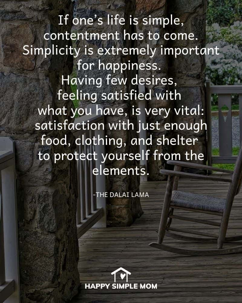 If one's life is simple, contentment has to come. Simplicity is extremely important for happiness. Having few desires, feeling satisfied with what you have, is very vital: satisfaction with just enough food, clothing, and shelter to protect yourself from the elements. The Dalai Lama