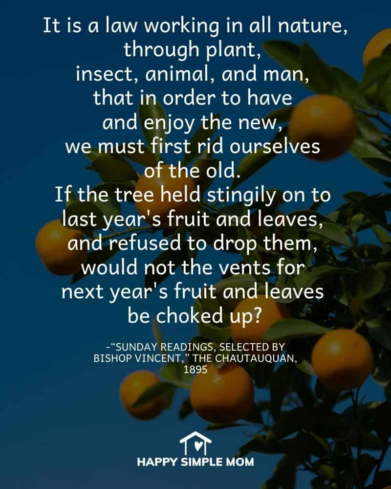 """It is a law working in all nature, through plant, insect, animal, and man, that in order to have and enjoy the new, we must first rid ourselves of the old. If the tree held stingily on to last year's fruit and leaves, and refused to drop them, would not the vents for next year's fruit and leaves be choked up? - """"Sunday Readings, Selected by Bishop Vincent,"""" The Chautauquan, 1895"""