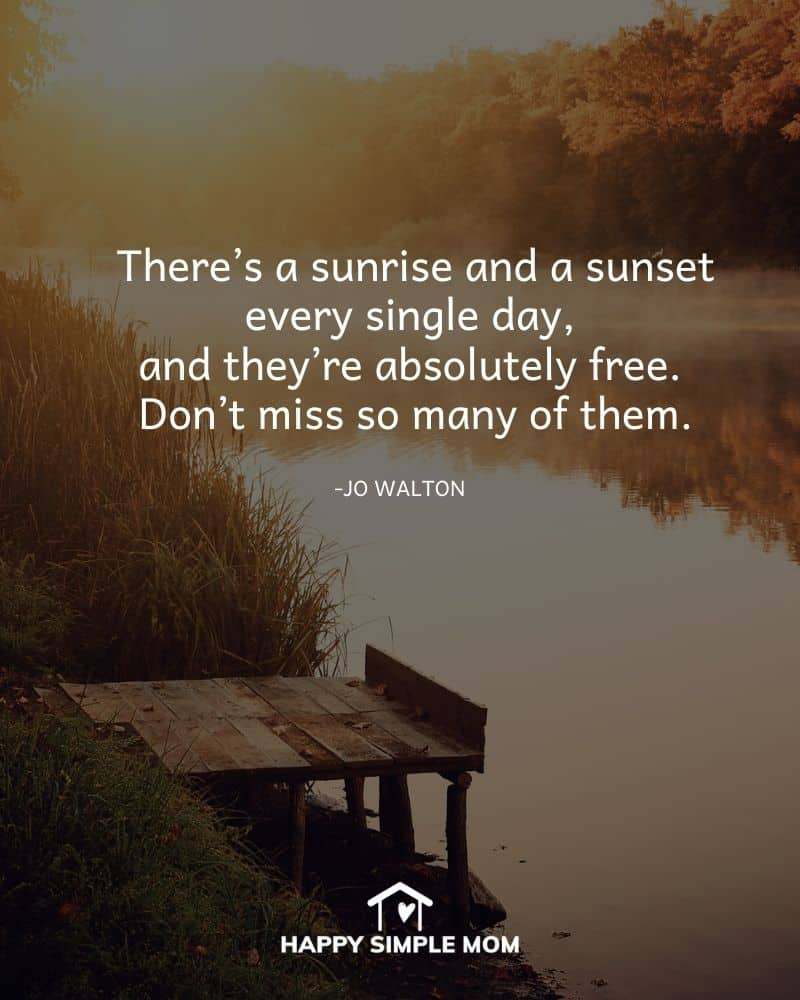 There's a sunrise and a sunset every single day, and they're absolutely free. Don't miss so many of them. - Jo Walton