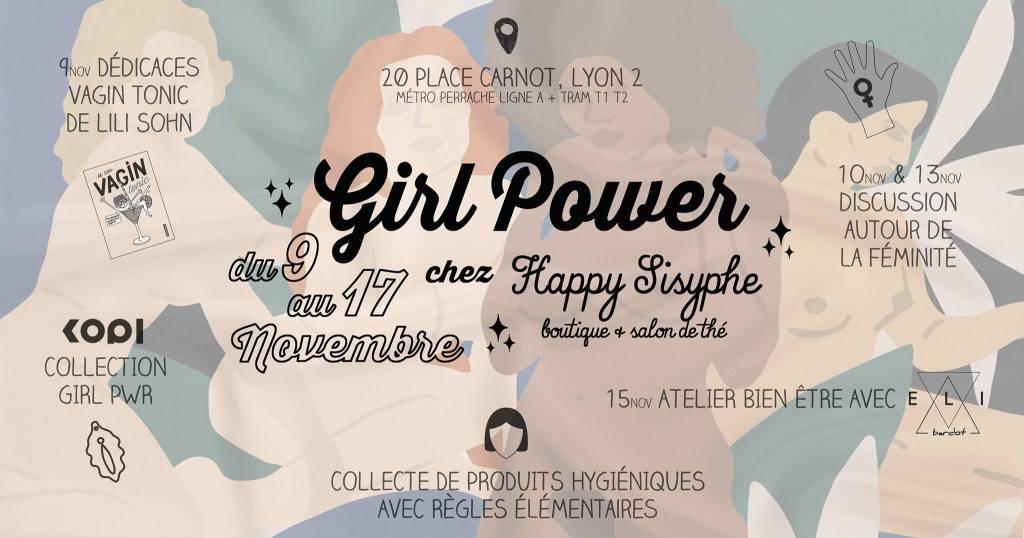 """( . ) ( . ) Venez célébrer le GIRL POWER avec nous chez Happy Sisyphe ! Une semaine pour parler de féminité, rencontrer des nanas extras, découvrir que son corps est beau, s'entraider, aborder le féminisme, et bien plus... Parce qu'Happy Sisyphe c'est avant tout une histoire de filles, on essaie de créer un lieu multi-facettes pour se sentir bien ! On commence fort avec une séance de dédicaces de Lili Sohn pour sa merveilleuse BD """"Vagin Tonic"""", le guide décontracté de la foufoune ! (dixit Lili) ☞ Vendredi 9 Novembre à partir de 17h (jusqu'à 20h30 environ) On enchaine avec des discussions autour de la féminité, animées par Léa et Marine. Peu importe qui tu es et ce que tu as mangé ce matin, viens discuter avec nous, faire connaissance et passer un bon moment. ☞ Samedi 10 Novembre à partir de 15h, boissons et gourmandises offertes. ☞ Mardi 13 Novembre de 18h à 21h, sur inscription (MP ou happysisyphe@hotmail.fr) apéro offert. Nous accueillons aussi Marta de The Fresh Lab qui présentera la marque RINGANA, cosmétique frais, naturels, vegan et éthique, avec des ingrédients hautement antioxydants avec une efficacité concentrée dans des produits de soins uniques. Si vous êtes interessé(e)s pour tester les produits et assister à la présentation, envoyez nous un MP pour réserver votre place. ☞ Mercredi 14 Novembre à 17h, sur inscription (MP ou happysisyphe@hotmail.fr) Il y aura aussi Elizabeth, aka Health Coach Eli Bardot, qui vous prépare un atelier découverte de la nutrition holistique ! ☆ Elle vous apprendra à donner à votre corps ce dont il a besoin pour avoir une vie plus saine, sans régime ni restriction ! Ce qui nous nourrit ne se trouve pas seulement dans notre assiette.. ☞ Jeudi 15 Novembre de 19h à 21h, gratuit sur réservation (MP ou happysisyphe@hotmail.fr) Découvrez également Le magazine LYONNAIS -Femmes ici et ailleurs- Les Editions du 8 mars > Loin du cliché des magazines féminin, sans pub, des photos magnifiques, et enfin des modèles féminins auxquels s'identi"""