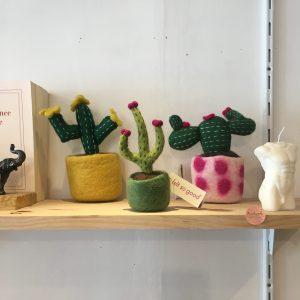 Trio cactus laine rose jaune vert Happy Sisyphe Boutique Lyon felt so good fait main