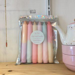 Bougies Dip Dye by Vivi Pastel néon gris Happy Sisyphe Boutique Lyon