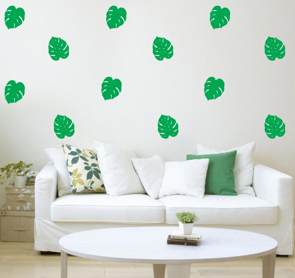 Tropical Leafmonstera Plant Wall Stickers Happy Stickers
