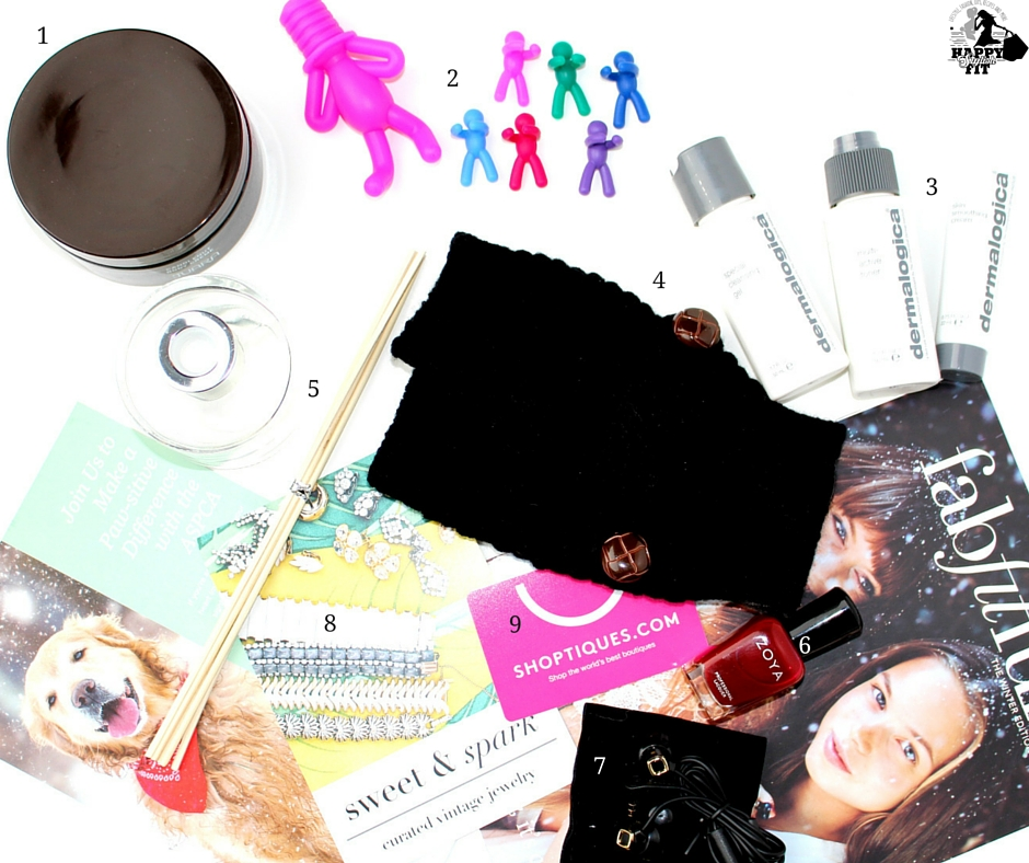 Fab Fit Fun Winter Review 2015 - body cream, wine charms, dermologica, mittens, diffuser, nail polish, headphones, and gift cards