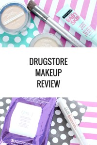 Drugstore Makeup Review: Rimmel mascara and eyeliner, Covergirl super stay 24 hour color lip stain / lip balm, loreal true match compact makeup, quo cleansing face wipes, and olay eye roller.