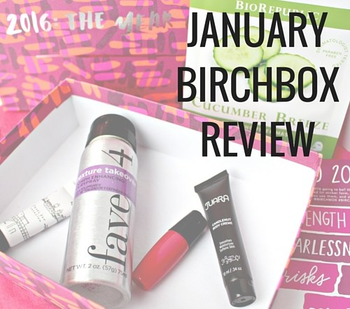January Birchbox review: fave4 texturizing spray, juara hand cream, cucumber face mask, and more.
