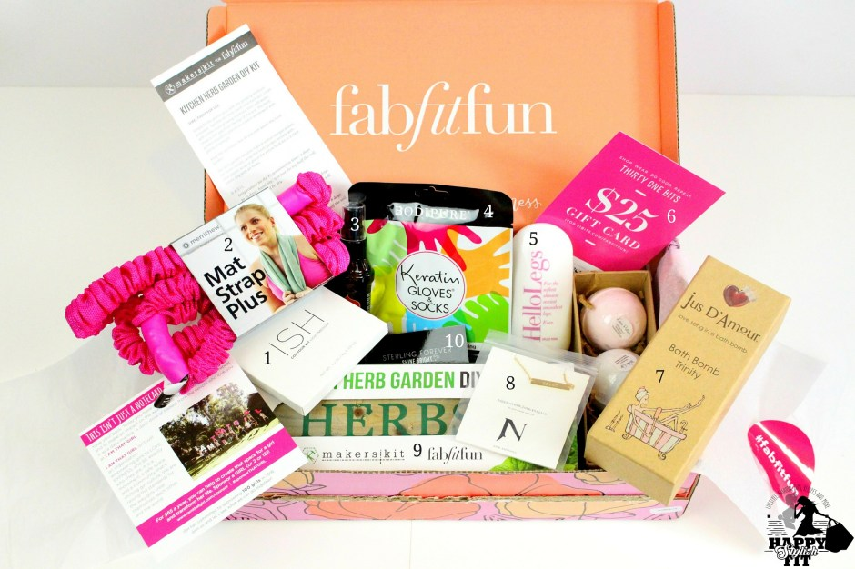 Click to find out what was inside the Fab Fit Fun Spring 2016 box. Brands like Jook & Nona, Merrithew, 31 Bits, Marrakesh, and Bodipure