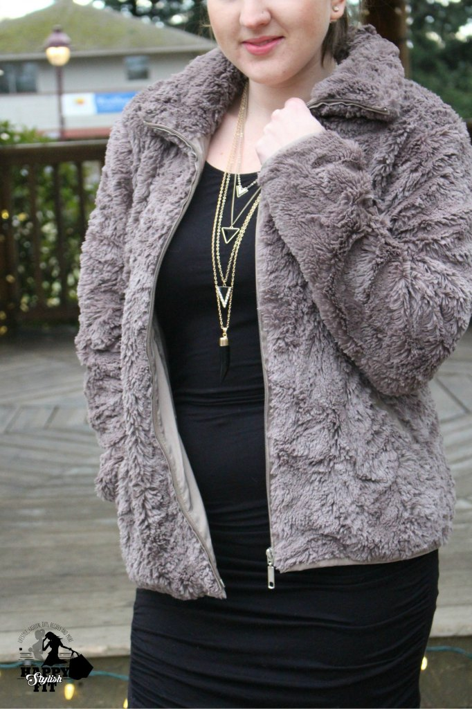 See how to wear fur two different ways: a casual outfit, or an evening outfit with a lbd.