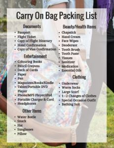 Free Printable Included! What you need to pack in your carry on bag for a worry free flight.