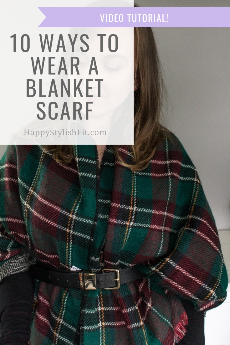How to wear a blanket scarf 10 ways including this belted shawl. With video tutorial. #BlanketScarf #FallFashion #WinterFashion #MomFashion
