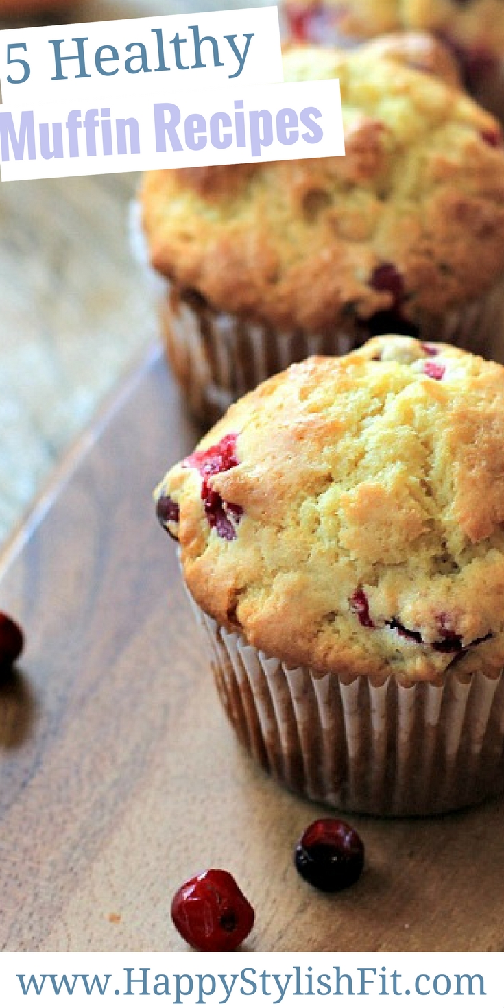 5 super tasty healthy muffin recipes including cranberry orange muffins, banana chocolate chip muffins, blueberry oatmeal muffins, banana berry muffins and peanut butter and honey banana muffins.