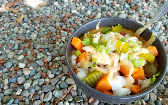 This tasty burger in a bowl is vegetarian and such a quick and easy dinner to make for you and your family.