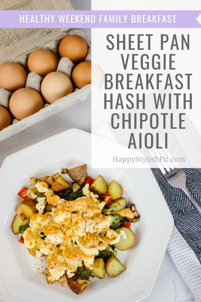 Healthy chipotle breakfast hash thats super easy to make by being a sheet pan meal. Great for the whole family.