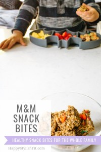 M&M cubed snack balls are a great healthy snack idea for the whole family.