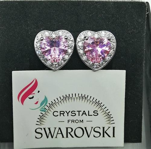 738fec3325a45b Orecchini donna a cuore oro 18k pl e cristalli Swarovski SWOROB19-013