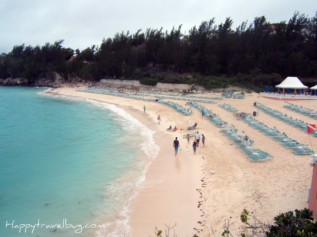 beautiful light blue ocean on pink Bermuda sand