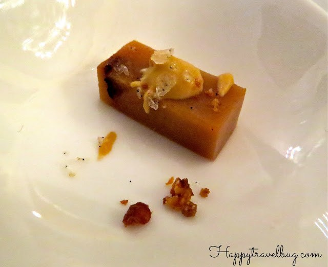 Amuse bouche of Caramelized pear terrine