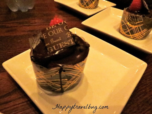 Triple chocolate cupcake at Be Our Guest Restaurant in Disney World