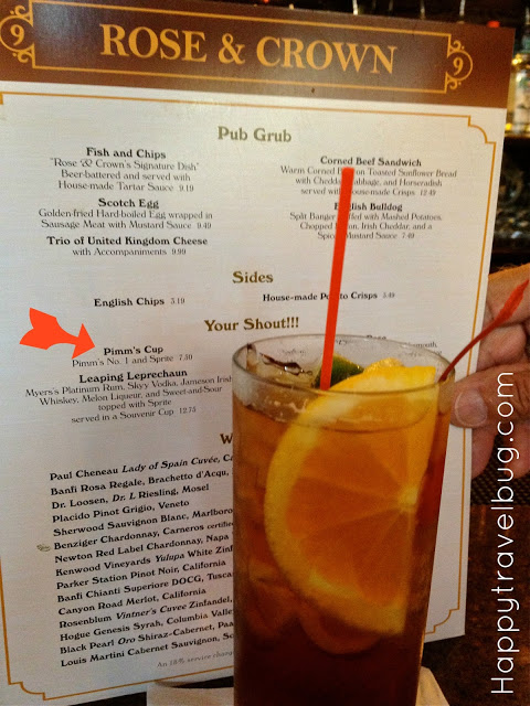 My Pimm's cocktail at the Rose & Crown pub