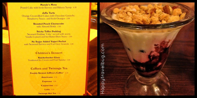 Dessert menu and parfait from Rose and Crown