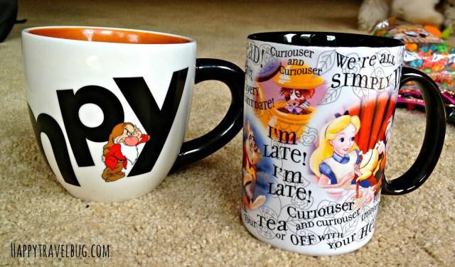 Disney mugs: Grumpy and Alice in Wonderland